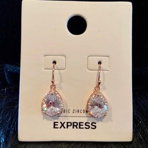 Express Cubic Zirconia Halo Teardrop Earrings